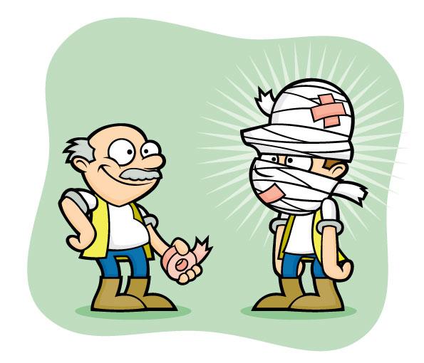 HealthandSafety_Workmen_BandagedInjury_Green